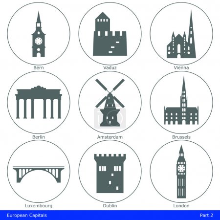 European capitals symbolized by their main landmar...