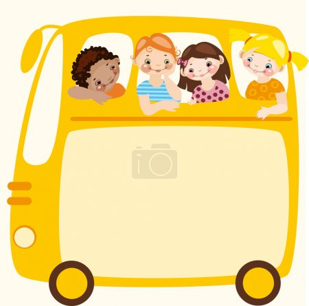 Illustration for School schedule. Place for your text on a yellow school bus - Royalty Free Image
