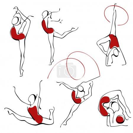Illustration pour Gymnastique rythmique. jeu de chiffres rouges 3 . - image libre de droit