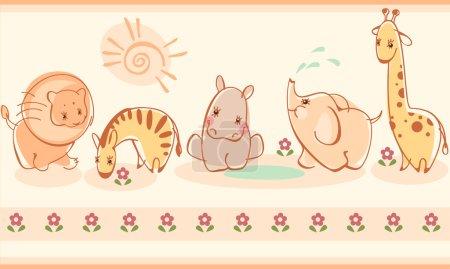 Illustration pour Frontière avec des zèbres, girafes, éléphants, lions, hippopotames. Similaire au portefeuille - image libre de droit