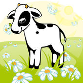 Calf stands on a flower meadow similar to the portfolio