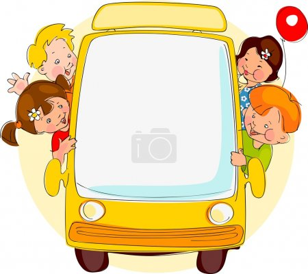 Illustration for School bus. Place for your text - Royalty Free Image