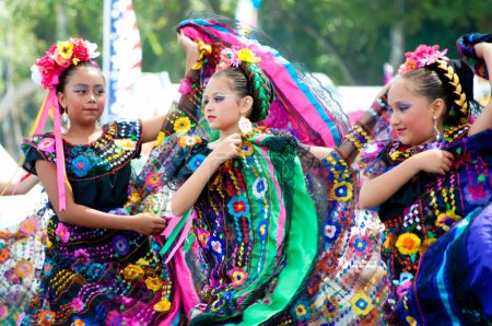 Photo for COSTA MESA, CA - JULY 24: Unidentified Mexican dancers perform in traditional costumes on stage at the Orange County State Fair in Costa Mesa, CA on July 24th 2010. - Royalty Free Image