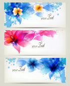 Set of flowers element and colorful blots Design brochure template with flowers elements