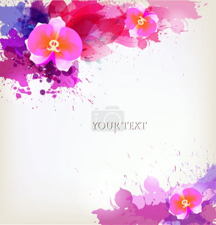 Illustration for Abstract floral artistic element . Watercolor vector background with colorful flower and blots. - Royalty Free Image