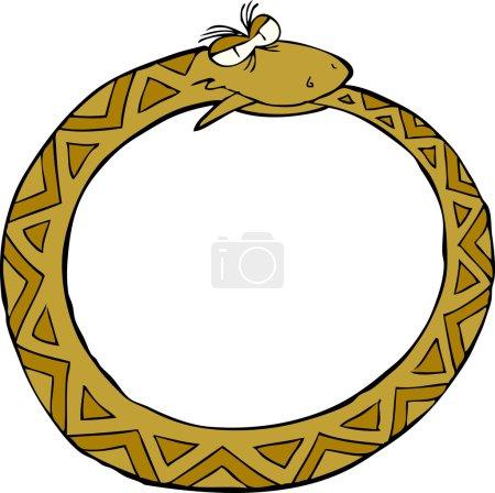 Illustration pour Anneau serpent sur fond blanc illustration vectorielle - image libre de droit