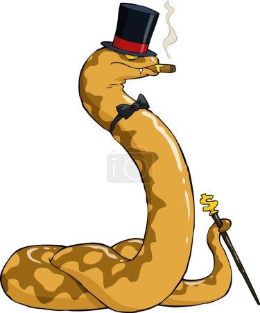 Illustration pour Boa riche en chapeau et canne vecteur illustration - image libre de droit