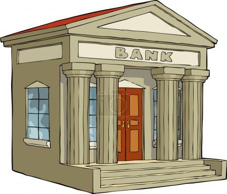 Illustration pour Bâtiment de la banque sur un fond blanc illustration vectorielle - image libre de droit