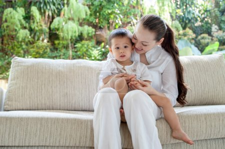 Photo for Beautiful asian mother with son - Royalty Free Image