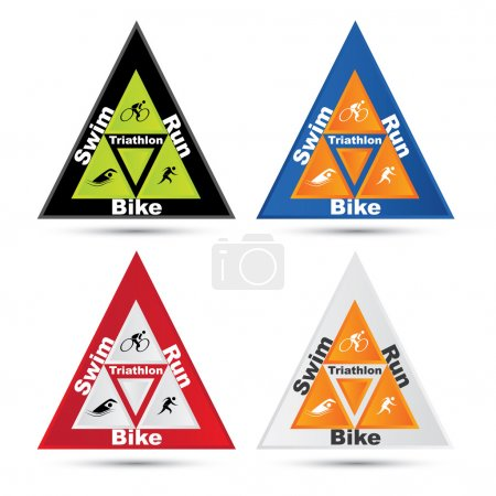 Vector triangle triathlon symbol set