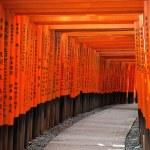 Red Tori Gate at Fushimi Inari Shrine in Kyoto, Ja...
