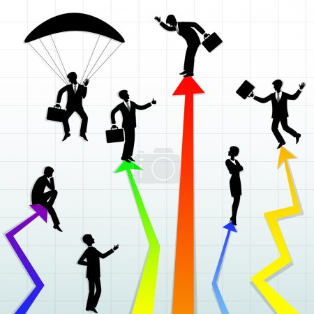 Illustration for Abstract illustration of business in different situations - Royalty Free Image