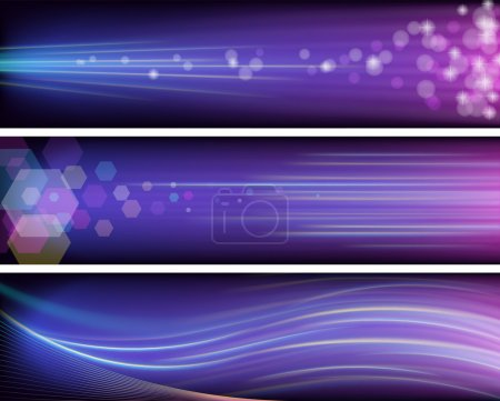 Illustration for Three vector shiny purple banners with neon rays. - Royalty Free Image