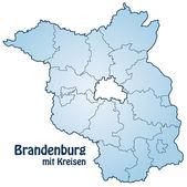 Mapa brandenburg s hranicemi v modrém