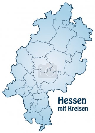 Map of Hesse with borders in blue...