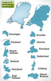 Map of Netherlands with borders in blue