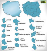 Map of Poland with borders in blue