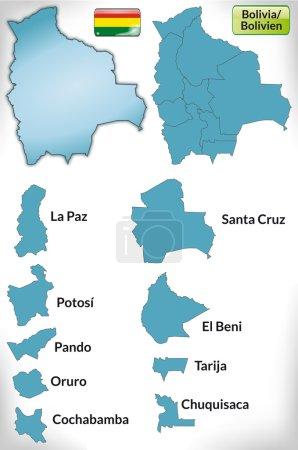 Illustration pour Carte de La Bolivie avec des frontières en bleu - image libre de droit