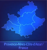 Map of Provence-Alpes-Cote d Azur with borders as scrible