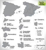 Map of Spain with borders in gray