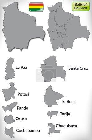Illustration pour Carte de La Bolivie avec des frontières en gris - image libre de droit