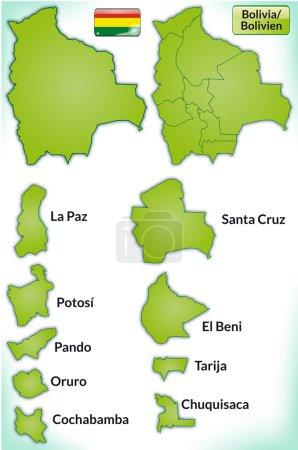 Illustration pour Carte de La Bolivie avec des frontières en vert - image libre de droit