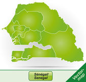 Map of Senegal with borders in green