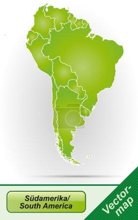 Illustration pour Carte de l'Amérique du Sud avec des frontières en vert - image libre de droit