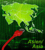 Map of Asia with borders in network design