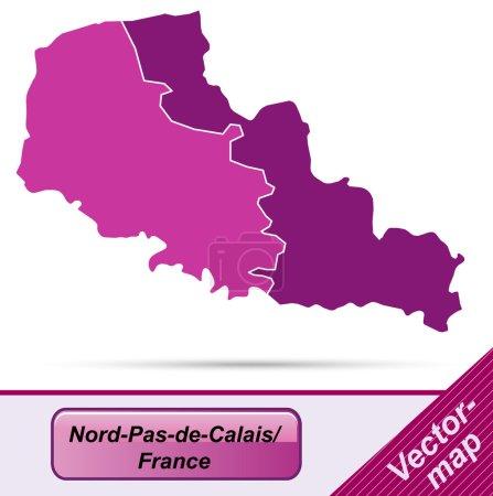 Illustration pour Carte du Nord-pas-de-calais avec bordures en violet - image libre de droit