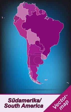 Illustration pour Carte de l'Amérique du Sud avec des frontières en violet - image libre de droit