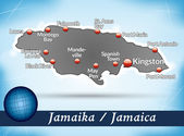 Map of Jamaica with abstract background in blue