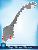 Map of Norway with abstract background in blue