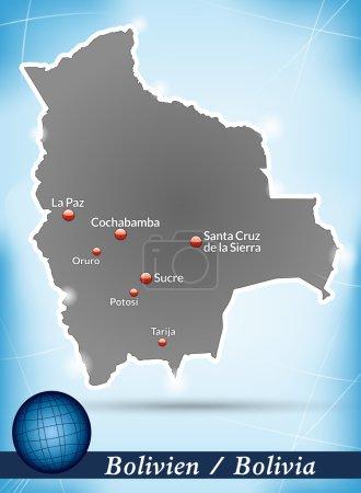 Illustration pour Carte de la Bolivie avec fond abstrait en bleu - image libre de droit