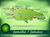 Map of Jamaica with abstract background in green