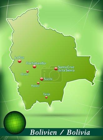 Illustration pour Carte de la Bolivie avec un fond abstrait en vert - image libre de droit