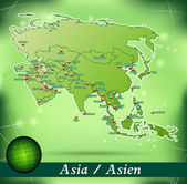 Map of Asia with abstract background in green