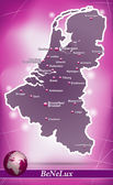 Map of Benelux with abstract background in violet
