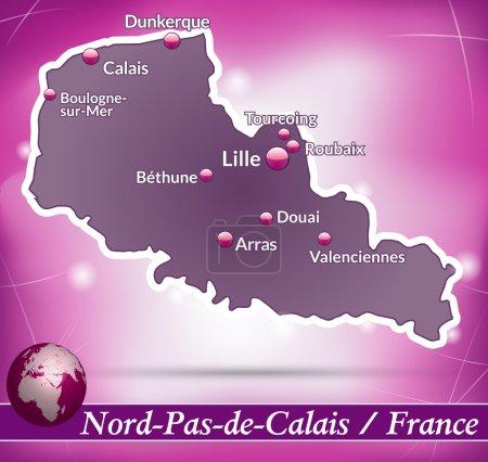 Illustration pour Carte du Nord-pas-de-calais avec fond abstrait en violet - image libre de droit