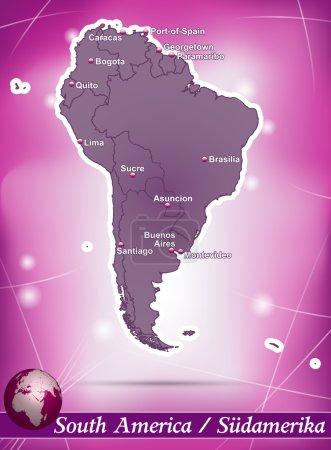 Illustration pour Carte de l'Amérique du Sud avec fond abstrait en violet - image libre de droit