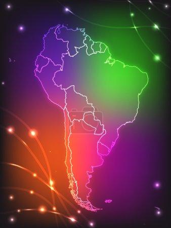 Illustration pour Carte de l'Amérique du Sud avec des frontières aux couleurs vives - image libre de droit