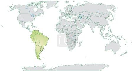 Illustration pour Carte de l'Amérique du Sud avec des frontières en vert pastel - image libre de droit