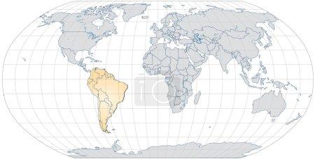 Illustration pour Carte de Amérique du Sud avec bordures en orange pastel - image libre de droit