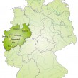 Map of North Rhine-Westphalia with main cities in ...