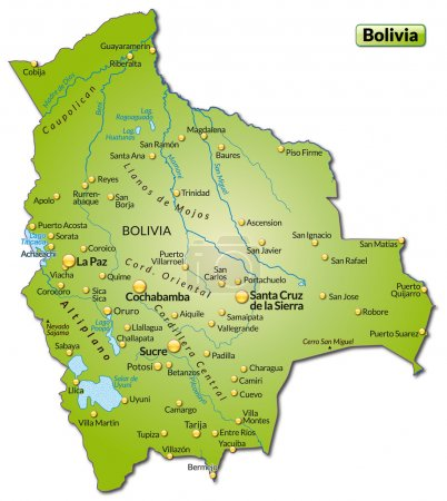 Illustration pour Carte de La Bolivie comme une carte d'aperçu en vert - image libre de droit