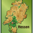 Map of Hesse as an overview map with hight layers...