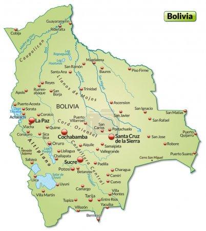 Illustration pour Carte de La Bolivie comme une carte d'aperçu en vert pastel - image libre de droit