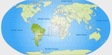Illustration pour Carte de l'Amérique du Sud avec les principales villes en vert - image libre de droit