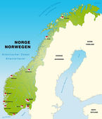 Map of Norway as an infographic in green