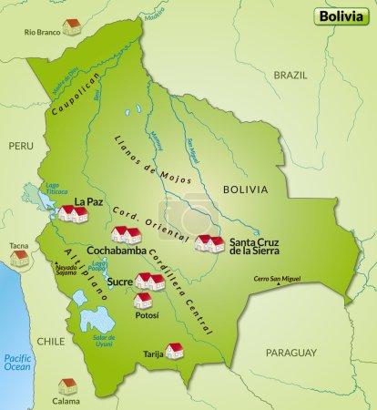 Illustration pour Carte de la Bolivie sous forme d'infographie en vert - image libre de droit